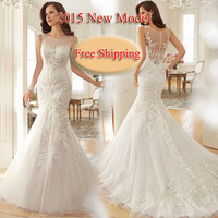Free Shipping New Model Lace Appliques Nice Back Mermaid Wedding Dresses 2015