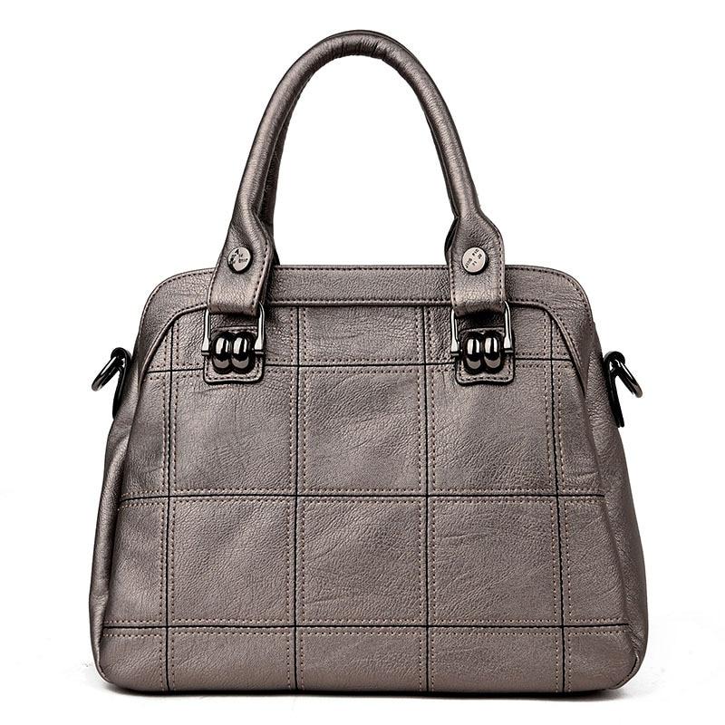 Medium solid champagne gold diamond lattice PU women handbags 2017 new large capacity top handle plaid ladies shoulder bags bag