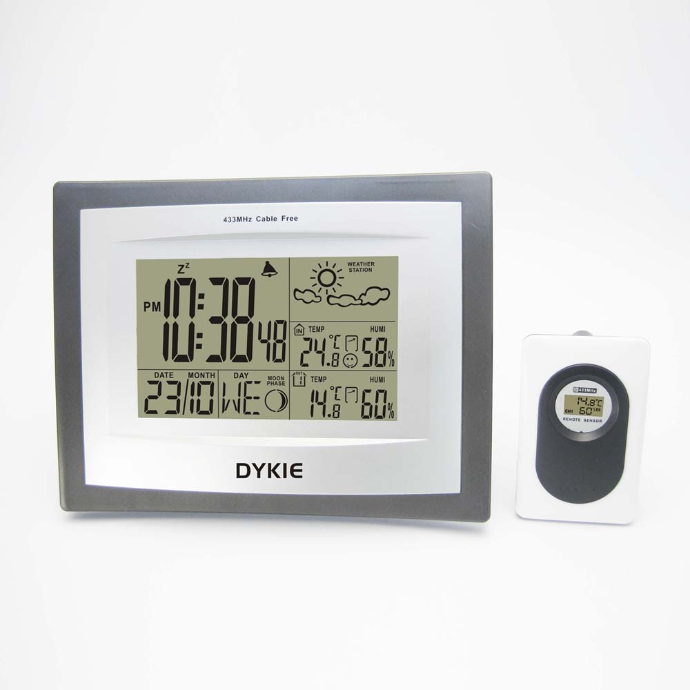 433Hz Wireless Weather Station DYKIE Alarm Clock with Indoor Outdoor Thermometer Hygrometer Weather Forecast Clock Wholesale цены