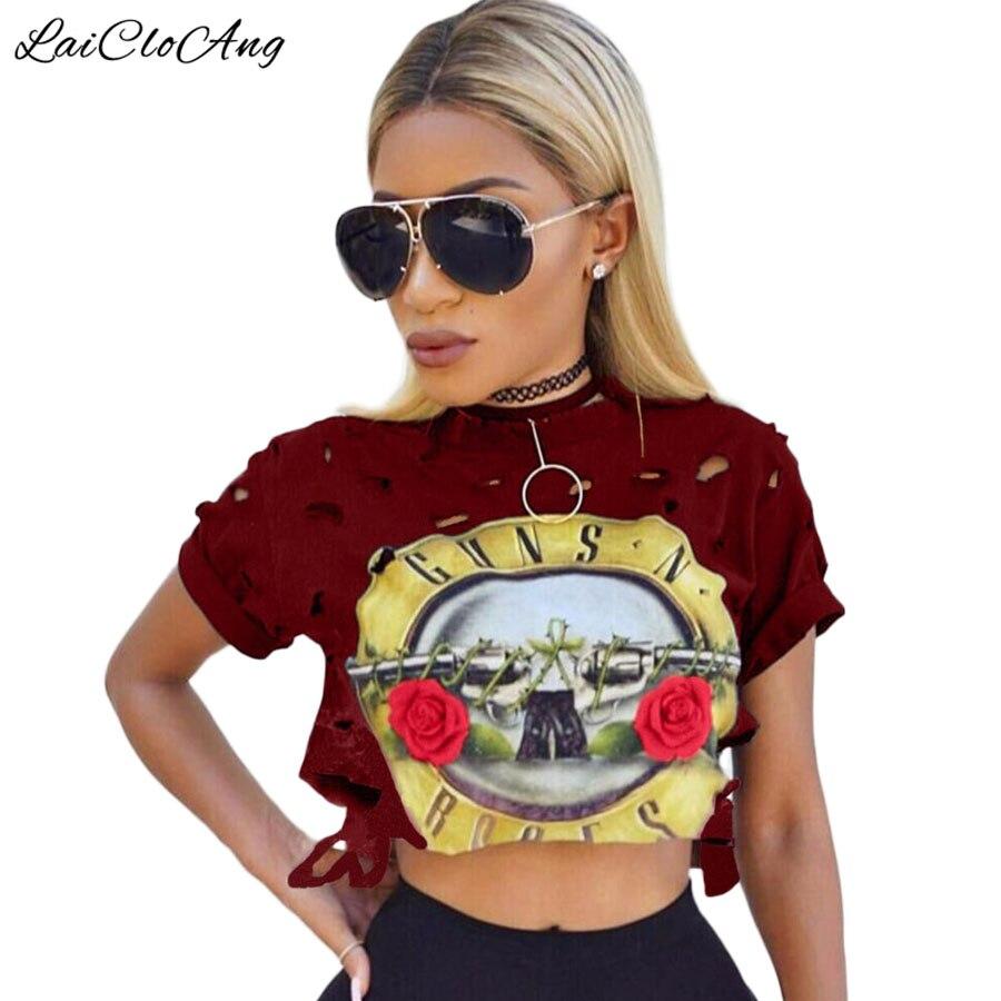Casual Sexy Agujero Femenino T-Shirt Nuevos GUNS N ROSES Imprimir Crop Top de La
