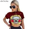 Casual Sexy Agujero Femenino T-Shirt Nuevos GUNS N ROSES Imprimir Crop Top de La Camiseta Recortada Tops Ahueca Hacia Fuera la Manga Corta Camiseta mujeres