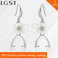 Latest Nice Design 925 Sterling Silver Girl Jewelry Simple Shape Flower Earring For Mounting Pearls 1