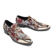 6641d9521 Золотой гладить Мужские модельные туфли в деловом стиле охра печатных  borgues оксфорды дышащая обувь мужские Размер 39-46
