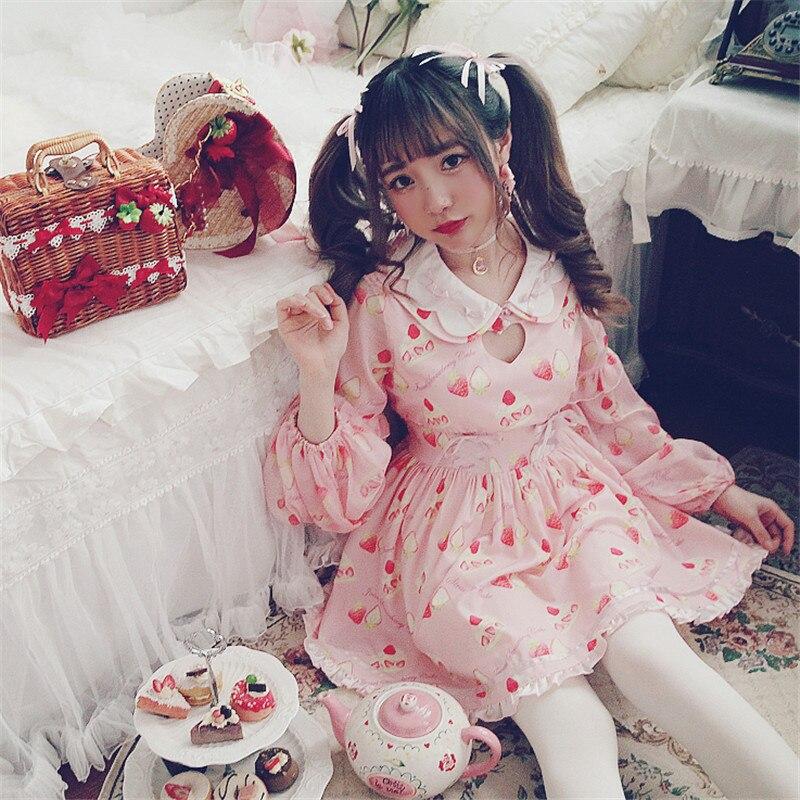 Creux En Bobon21 D1457 Gâteau d1457 Soie Manches Robe Mousseline Fraise De D1457 Poupée Lolita Keqi Style Mignon Sweet Princesse Préférées Amour Filles gCqxZOqS