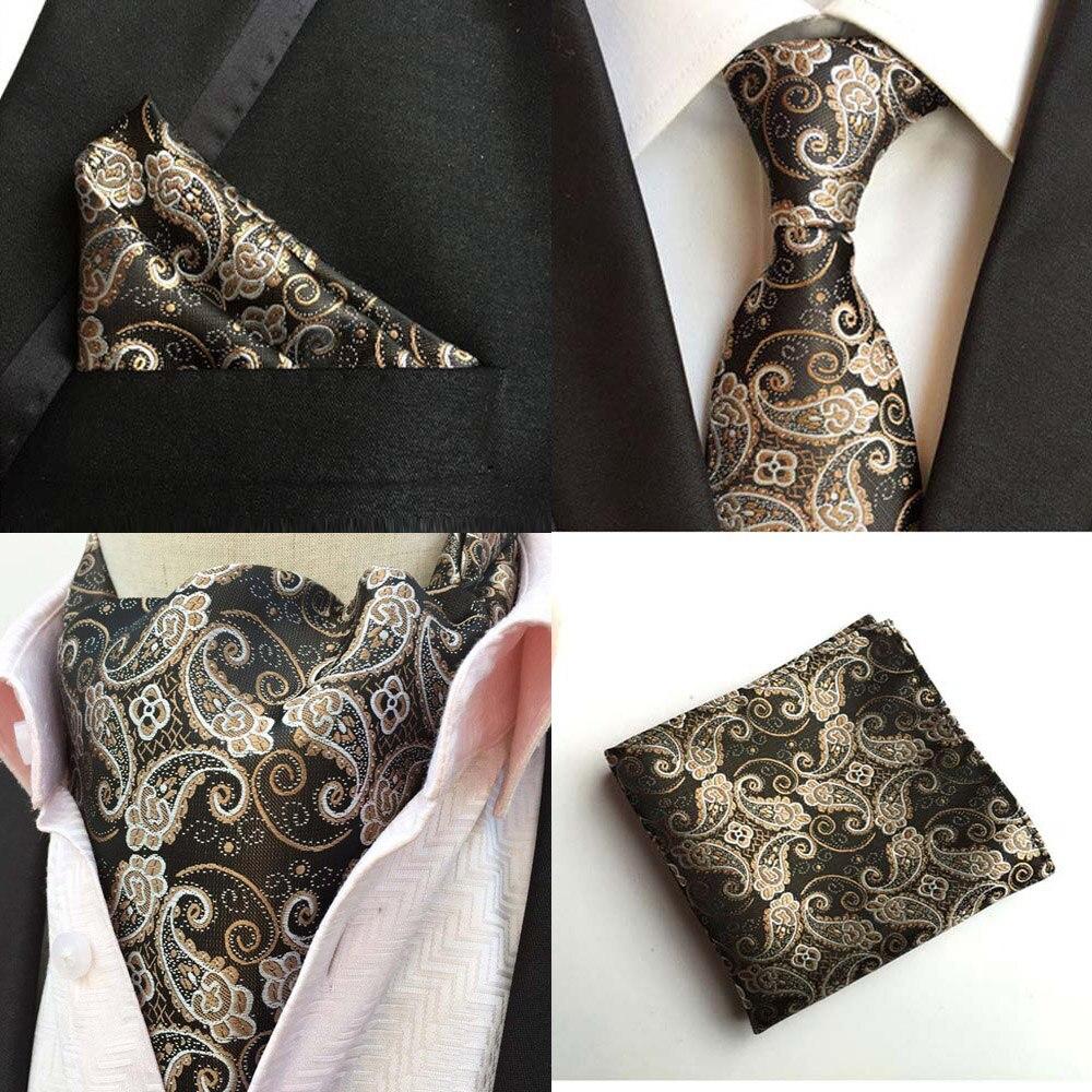 Mens Paisley Floral Black Silk Tie Necktie Ascot Cravat Pocket Square Set Lot HZTIE0257