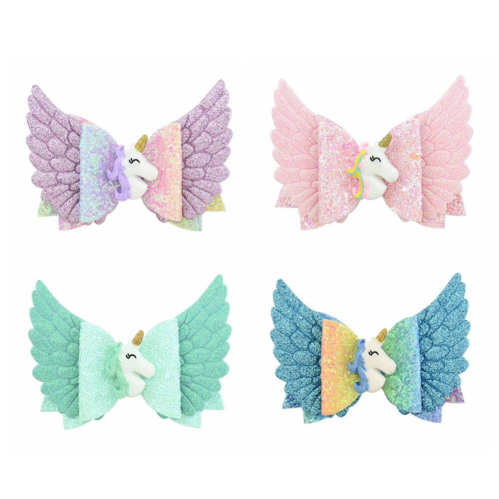 Energetic 3.5 Inch Glitter Angle Wing Hair Bows Unicorn Bows Girls Hairpins Fairy Clips Handmade Chunky Barrettes Party Outfit Headwear 2019 New Fashion Style Online