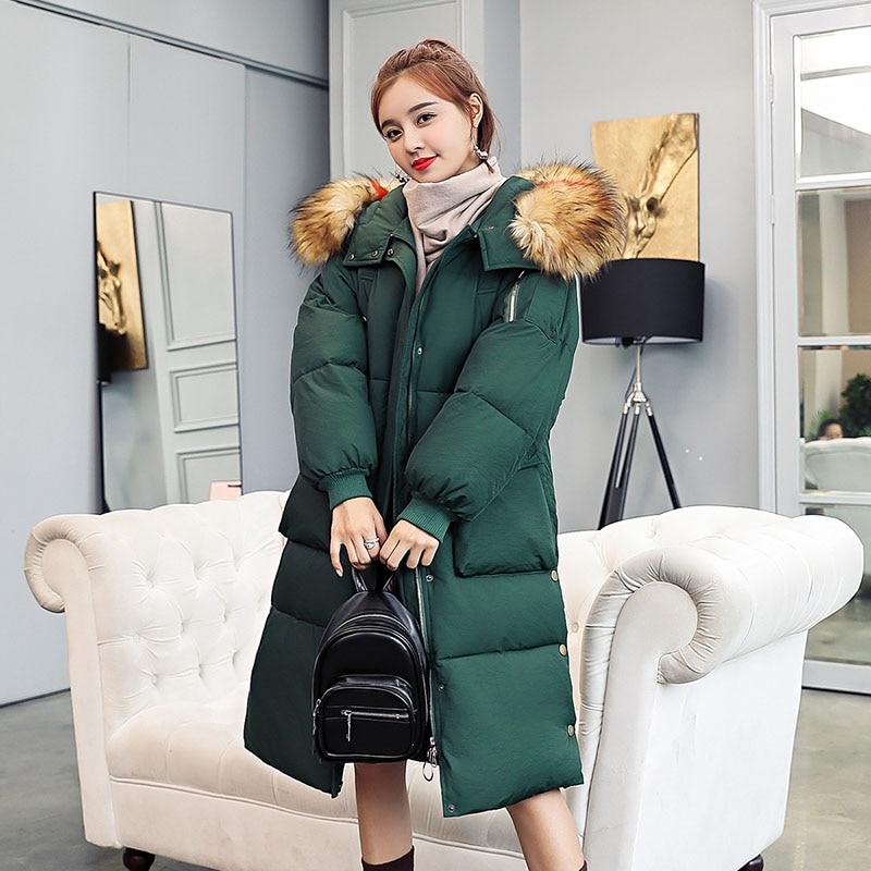 New Hot Women Winter   Down     Coat   Fashion Female Big Fur Collar Duck Parkas Jacket Thick Warm Elegant   Down     Coat   Slim Wadded Jacket