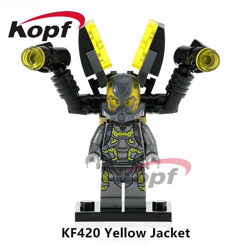 Single Sale KF420 Super Heroes Antman Yellow Jacket Deadpool Bricks Action Figures Building Blocks Children Gift Toys SY295 single sale super heroes red yellow deadpool duck the bride terminator indiana jones building blocks children gift toys kf928