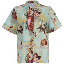 2019 Summer Print Short Sleeve Cartoon Women Button Down Blouse Vintage Angel Top