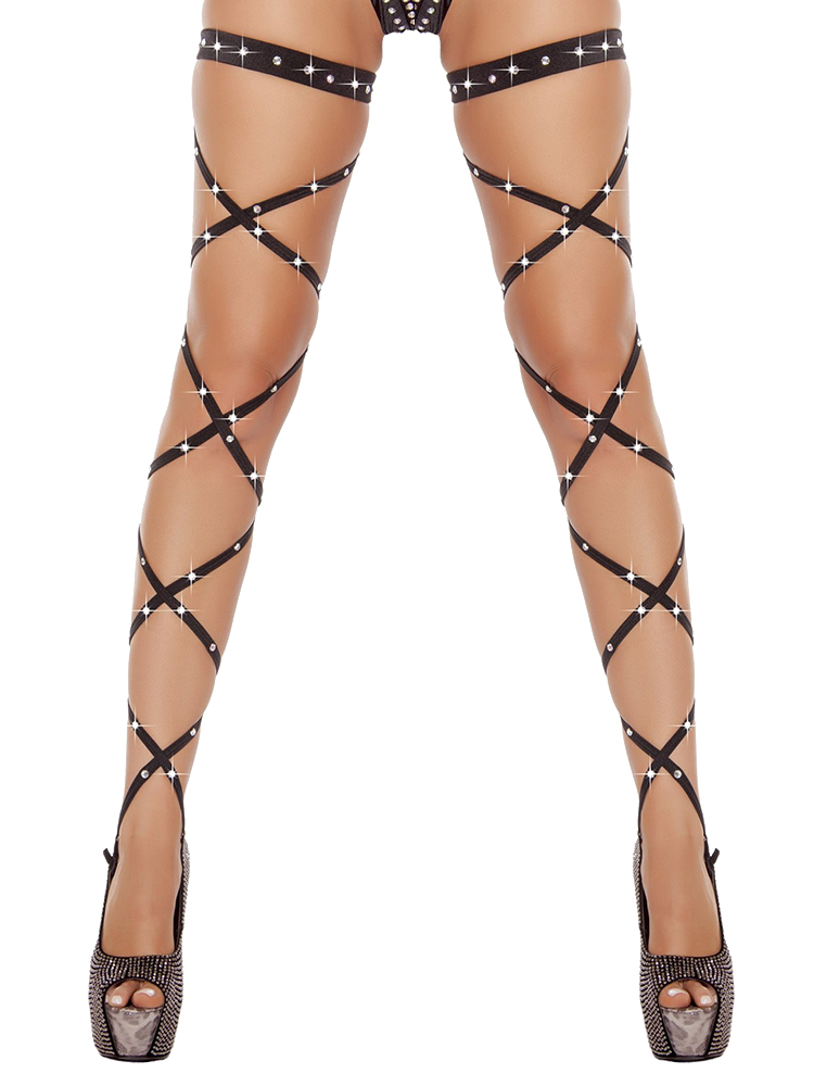 Sexy Women Lingerie Bandage Fishnet Stockings Thigh-High Crystal Studded Thigh High Leg Rave Wraps Strappy Rhinestone Tights