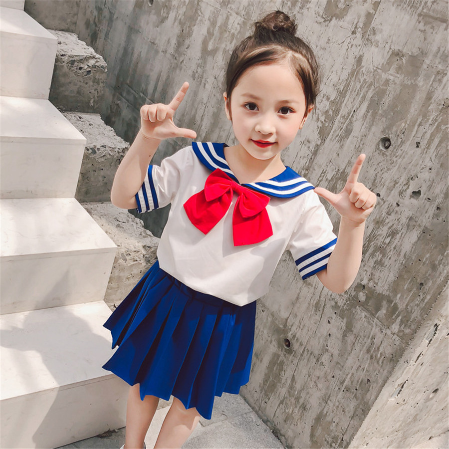 Sailor Moon For Girl Dress Kids School Uniforms Children Blouse Sailor Collar With Bow Tie Pleated Skirt Navy Cosplay Costume