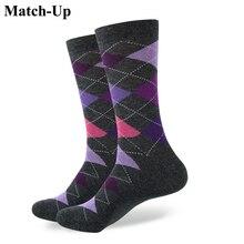 Матч-новый стиль Аргайл носок Мужская чёсаный хлопок Носки Свадебные Носки Бесплатная доставка американский размер (7.5-12)