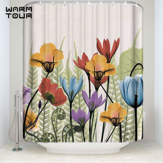 Extra Long Fabric Bath Shower Curtains Home Garden Painting Flowers