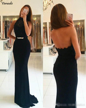 2019 Black Charming Prom Dresses High Neck Backless Sleeveless Slim Lace Pattern Party Evening Gowns