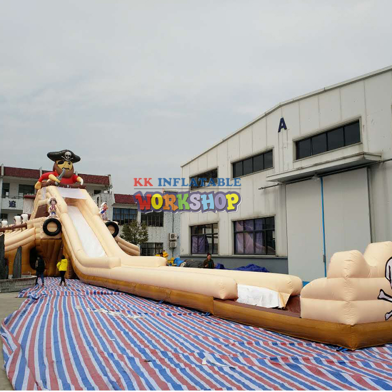 Pirate Theme Inflatable Water Slide With Rectangle Pool For Cool Amusement
