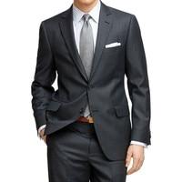 Mens Krijtstreep Pak Custom Made Charcoal Grey Mens Gestreept Pak, Tailored Enkele Breasted Pin Streep Mannen Pak (Jas + broek)