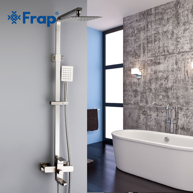 FRAP Shower Faucets Top quality contemporary bathroom shower faucet mixer set bath shower mixer system stainless steel faucet