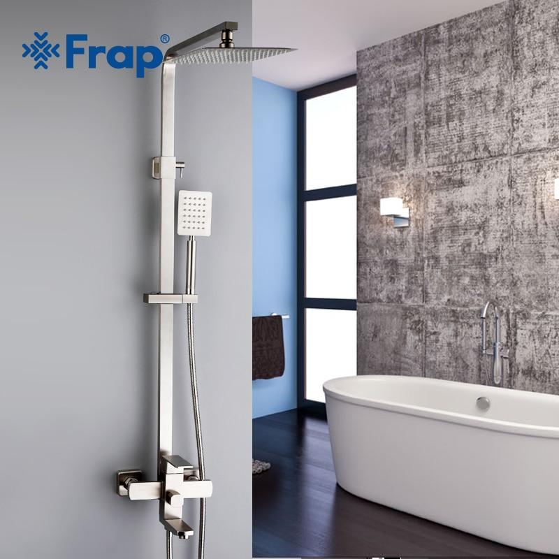 Robinets de douche FRAP Top qualité salle de bain contemporaine robinet de douche ensemble mélangeur de douche de bain système de mélangeur robinet en acier inoxydable
