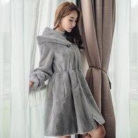 Стразами Одежда высшего качества натурального меха кролика Rex пальто Для женщин свободная посадка за Размеры с капюшоном линия зима натура