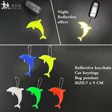 Дельфин мягкий ПВХ отражающий брелки автомобильные Кольца Подвески очаровательные сумки аксессуары для безопасности дорожного движения