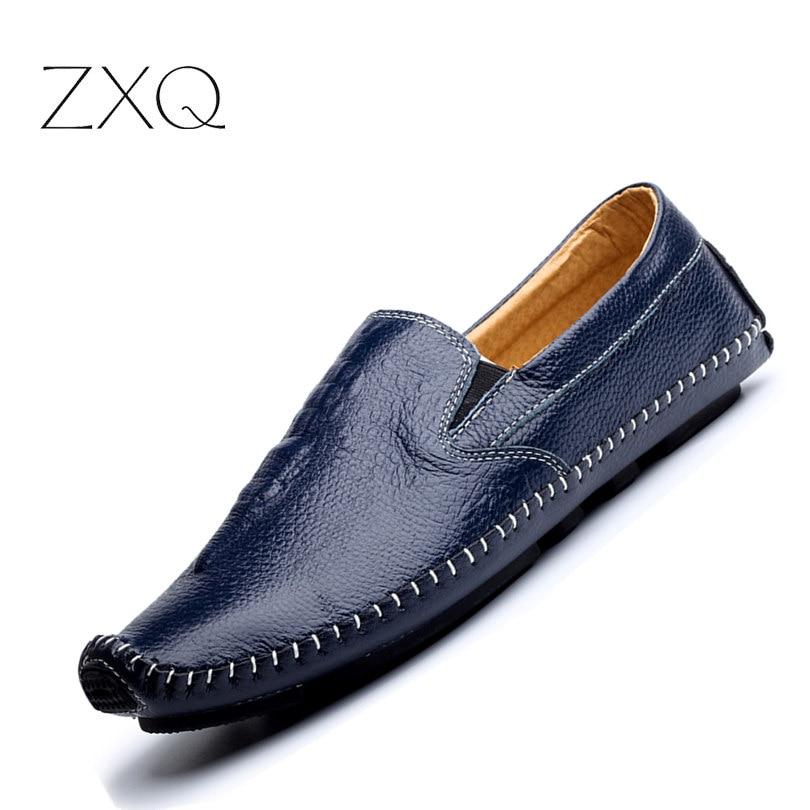 summer style font b men s b font loafers crocodile pattern man s flats Male driving