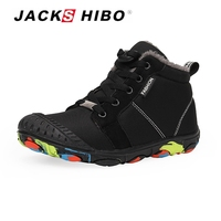 JACKSHIBO New Kids Sneakers Winter High Top Leisure Watertight Children Shoes for Boy Warm Snow Shoes Anti skid Grey Black 31 39