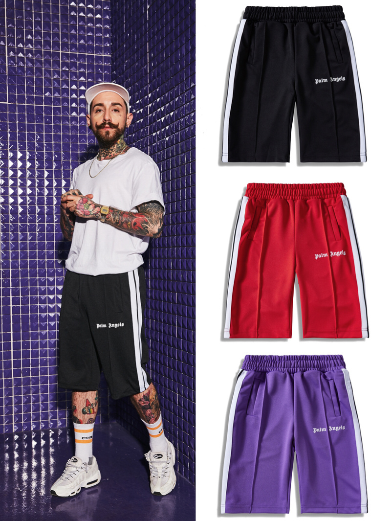 19SS Palm Angels   Shorts   men 1:1 High Quality Retro Striped Casual Sports   Shorts   Streetwear Hip Hop Kanye West Palm Angels   Shorts