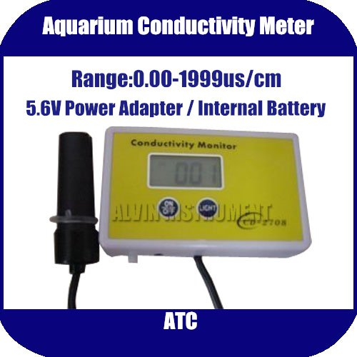 Free Shipping Aquarium Conductivity Tester METER Analyzer Range:0.00-1999uS ATC  5.6V Power Adapter or Internal Battery g t power 130a 150a rc watt meter power analyzer digital lcd tester 12v 24v 36v high precision
