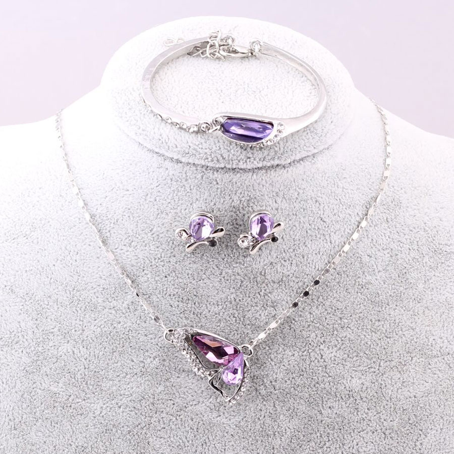 Sales New Butterfly Jewelry Sets Necklace + Earring+bracelet Crystal Set Fashion Jewelry #5