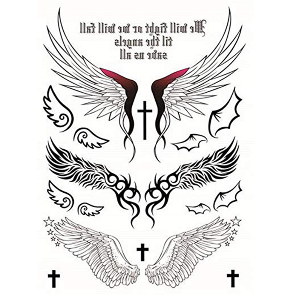 Temporary Tattoos Sticker Angel Design Wings Cross Sexy Products For Women Waterproof Tattoos Sticker 1 Pc Style-423