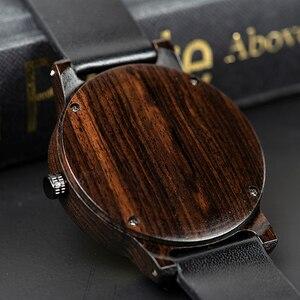 Image 5 - BOBO BIRD Ebony Wood Watch Men Timepieces Leather Strap Quartz Watches relogio masculino Mens Gifts Accept Logo Drop Shipping