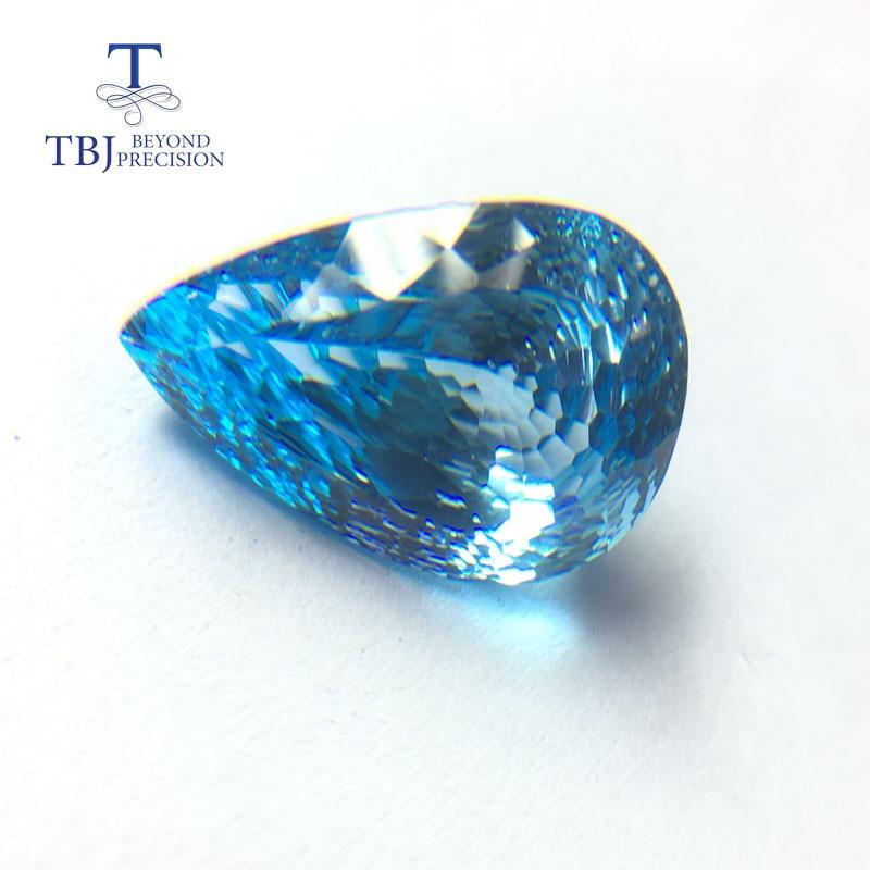 Tbj, naturel lâche topaze bleue pierre précieuse poire 14.7*20.64mm nid d'oiseau pierre précieuse en vrac pour bijoux à bricoler soi-même