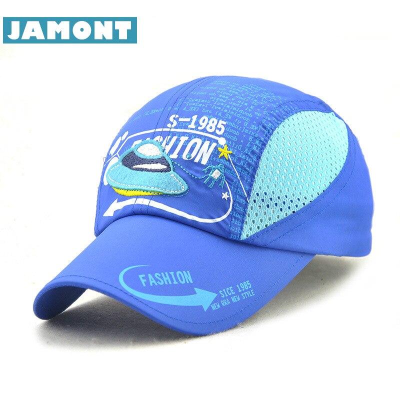 [JAMONT] Summer Kids Cap Boy Girl Baseball Cap Mesh Quick Drying Caps Cartoon Print Children's Sun Hat Casquette Gorras