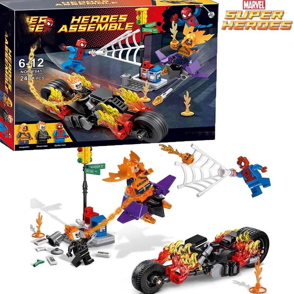 Spider Man Super Heroe 248pcs Spider Man Ghost Rider Team UP Moto Hobgoblin set compatibile 76058 giocattolo del capretto nuovoBlocchi   -