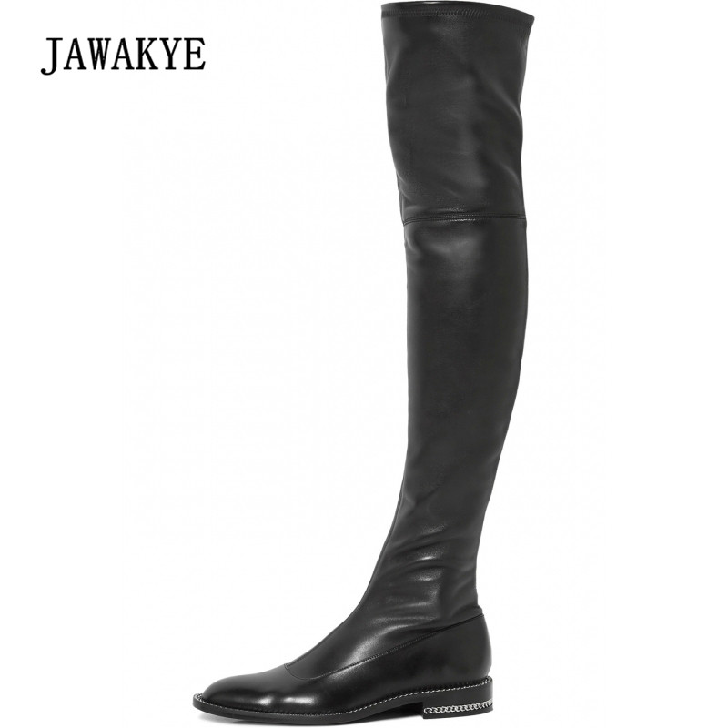 2018 Newest Fashion Over The Knee Boots Woman Round Toe Silver Chain Flat Long Boots Women Fashion Thigh Boots