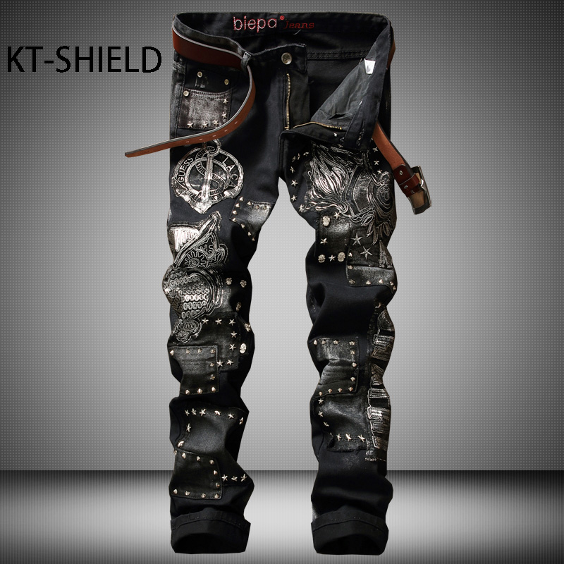 Mens Fashion Brand Designer Ripped Biker Jeans Distressed Hombre Vaqueros Cotton casual Denim Slim fit Masculina Pantalones ripped distressed jean hombre slim fit denim overalls fashion mens biker casual hip hop long trousers calca jeans masculina