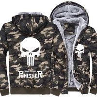 Punisher Frank Castle Sweatshirts Cosplay Avengers Costumes 2018 Pile and thicken winter camouflage uniforms Hooded sweatshirts