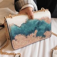 Брендовая Весенняя женская сумка, усовершенствованная сумка на плечо с вышивкой и цепочкой, сумка через плечо из искусственной кожи, женская сумочка с рисунком для девушек 366