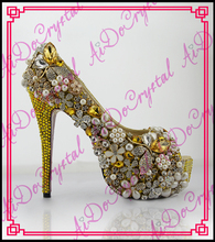 Aidocrystal Luxury shining rhinestone gold dress shoes women wedding pumps sexy peep toe high heels famous brand shoes
