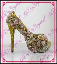 Aidocrystal Luxus glänzende strass gold kleid schuhe frauen hochzeit pumpt sexy peep toe high heels berühmte marke schuhe