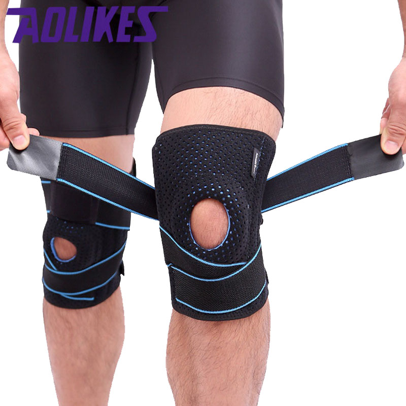 AOLIKES 1 Pcs Cycling Running Knee Support Protector Straps adjustable Pressure Knee Pad For Mountaineering Hiking Fitness