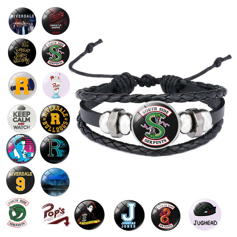 Riverdale Gelang Perhiasan Pria dengan Kulit Asli Multilayer Riverdale Pola Kaca Cabochon Pesona Bangle Bracelet Beaded