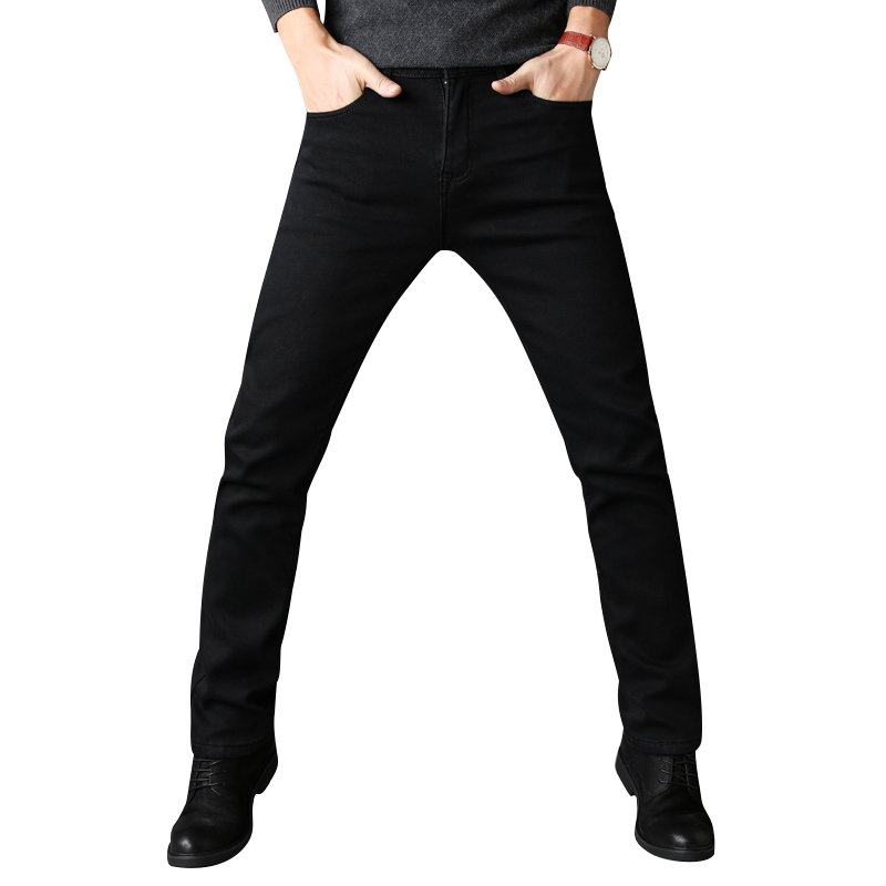 Sulee Men Jeans Business Casual Spring Summer Winter Jeans Stretch Denim Pants Trousers Classic Cowboys Young Man Black