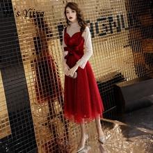It's YiiYa Prom Dress Long Sleeve Formal Evening Dress  Wine Red Tea Length Women Elegant A-line Party Gowns Robe De Soiree E002 mikado uac e002