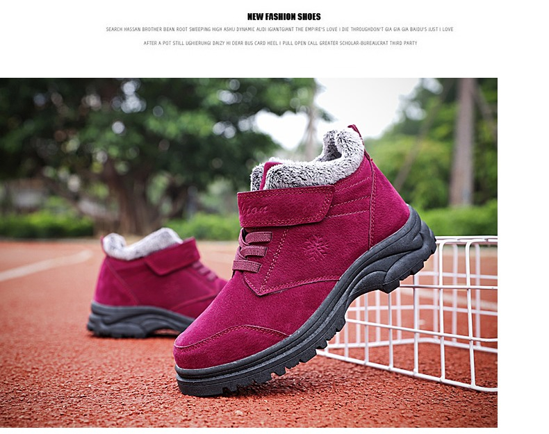 Fashion Winter Snow Boots Women Warm Casual Shoes Lace Up Waterproof Women Ankle Boots Non-Slip Rubber Sole Ladies Shoes XZ85 (14)