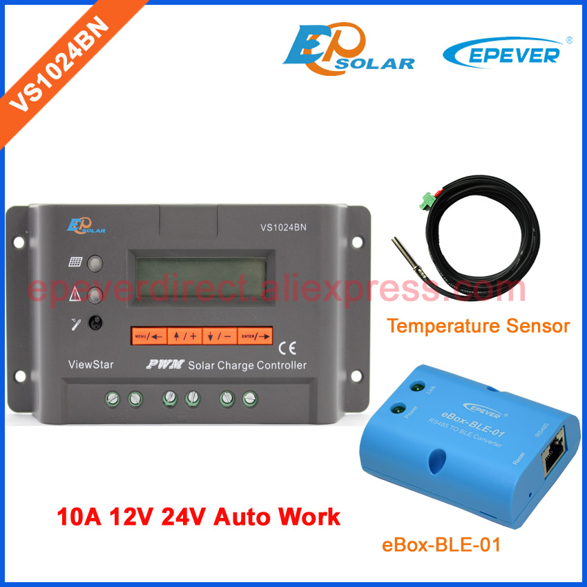 BLE BOX EPEVER Solar Battery Charger controller bluetooth function VS1024BN 10A 10amp 12V 24V auto switch temperature sensor 10a 10amp mini home controller 12v 24v auto work ls1024b pwm solar battery regulator bluetooth function and cables epever