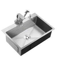 304 stainless Steel 3mm Thickened Manual Tank Set Single Tank Kitchen sink Large Washing Pot Dishwash Pool single bowl