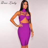 Deer Lady Vestidos Halter Bandage Dress 2017 Summer Knee Length Evening Dresses Purple Bodycon Dresses For