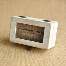 Portador Del Anillo personalizado Sus Nombres y Fecha de La Boda Caja de Caja del Anillo de Boda Portador Almohada Rústico Personalizado caja de Compromiso