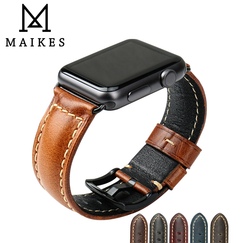 MAIKES Genuine Leather Band For Apple Watch Strap 42mm 38mm iWatch Series 3/2/1 Watchband Watch Bracelet for Apple Watch Band kakapi crocodile skin genuine leather watchband with connector for apple watch 38mm series 2 series 1 pink